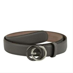 Gucci Grey Leather Belt with GG Buckle 295704 1226